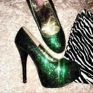 Green & Gold Glitter Bordello Heels